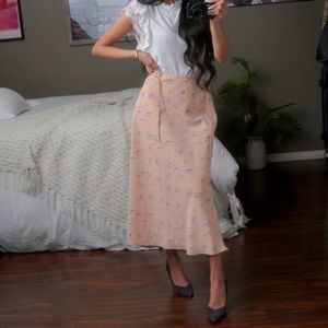 Cotton Candy Floral Midi Skirt